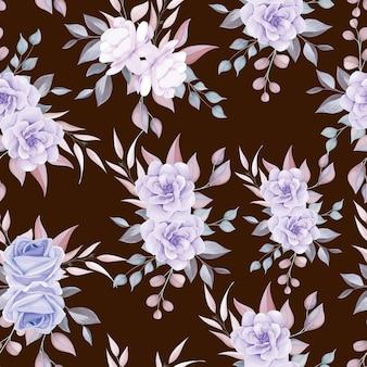 Hermoso patrón floral transparente con adorno de flores suaves