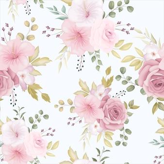 Hermoso patrón floral transparente con flor rosa polvorienta