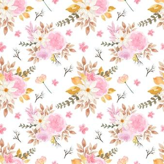 Hermoso patrón floral transparente con flores de otoño