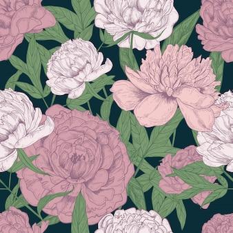 Hermoso patrón floral transparente con peonías rosas y verdes