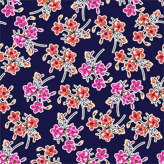 Hermoso patrón de flores. motivos botánicos dispersos al azar. textura de vector transparente para estampados de moda. impresión con estilo dibujado a mano