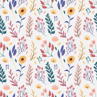 Hermoso patrón de flores prensadas