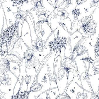 Hermoso patrón natural sin costuras con flores de primavera dibujadas a mano con líneas de contorno en blanco