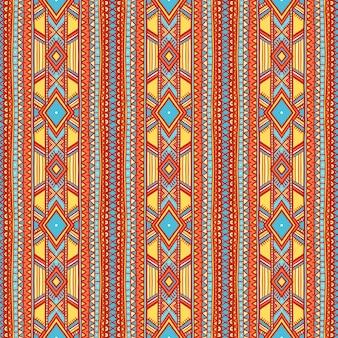 Hermoso patrón de rayas verticales tribales con puntos y triángulos