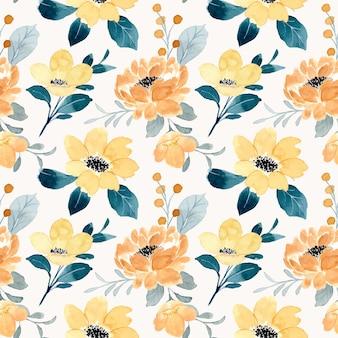 Hermoso patrón transparente acuarela floral amarillo
