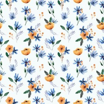 Hermoso patrón transparente acuarela floral azul y amarillo