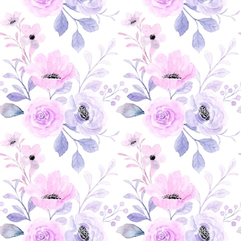 Hermoso patrón transparente acuarela floral púrpura rosa