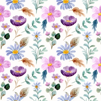Hermoso patrón transparente acuarela floral salvaje púrpura