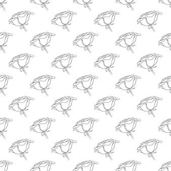 Hermoso patrón transparente blanco y negro monocromo con rosas, hojas. líneas de contorno dibujadas a mano. diseño de tarjeta de felicitación e invitación de la boda, cumpleaños, día de san valentín, día de la madre, día festivo
