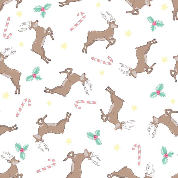 Hermoso patrón transparente con ciervos adultos y bebé sobre fondo marrón. telón de fondo con animales del bosque de dibujos animados lindo y divertido. ilustración vectorial para impresión textil, papel tapiz, papel de regalo.