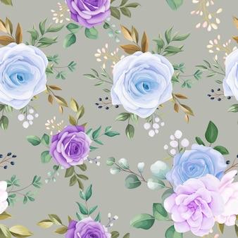 Hermoso patrón transparente flor azul y hojas verdes