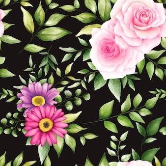 Hermoso patrón transparente floral acuarela