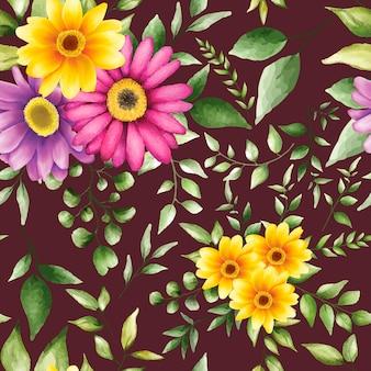 Hermoso patrón transparente floral acuarela vector gratuito