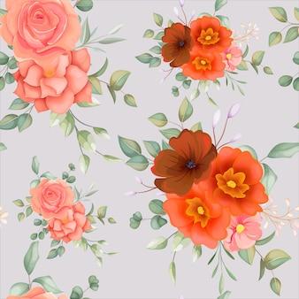 Hermoso patrón transparente floral dibujado a mano con adorno floral boho