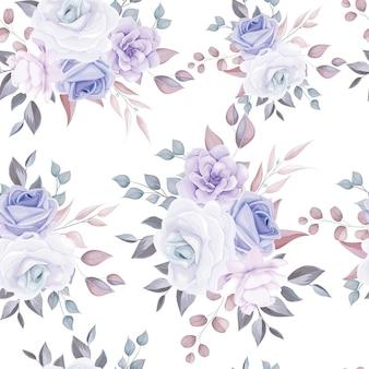 Hermoso patrón transparente floral con suaves flores de color púrpura