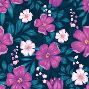 Hermoso patrón transparente floral vintage