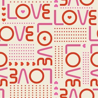 Hermoso patrón transparente con palabras de amor y mini corazones