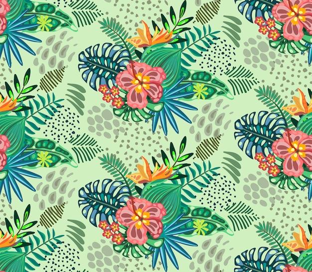 Hermoso patrón transparente con palmeras de la selva ropical deja flores exóticas