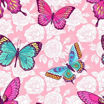 Hermoso patrón transparente de rosas y mariposas de colores. ilustración dibujada a mano