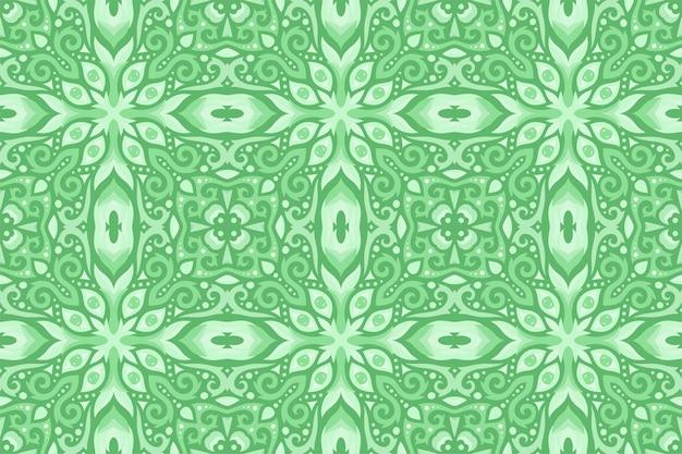 Hermoso patrón transparente vintage oriental verde con ojos