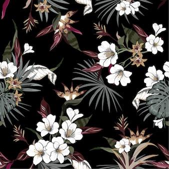 Hermoso patrón tropical oscuro artístico