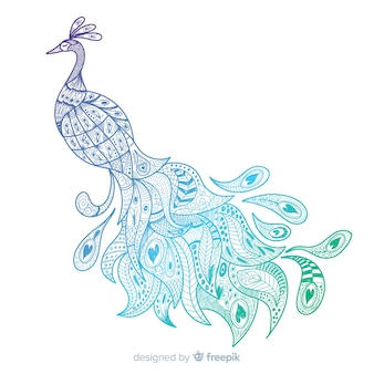 Hermoso pavo real en estilo dibujo a mano