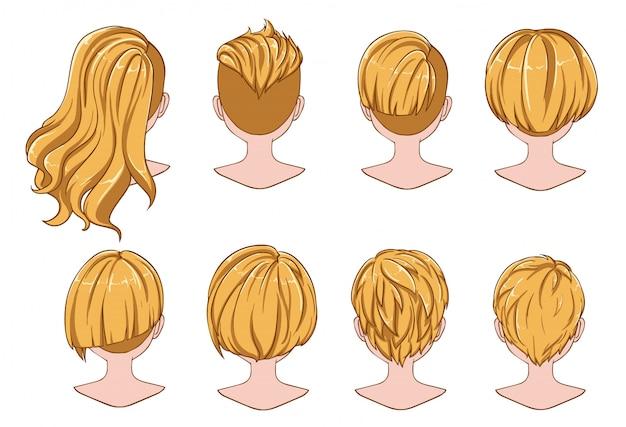 Hermoso peinado de colección de cabello de mujer