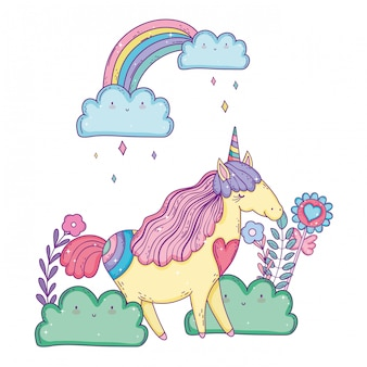 Hermoso pequeño unicornio con arco iris en el paisaje