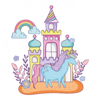 Hermoso pequeño unicornio con castillo y arco iris