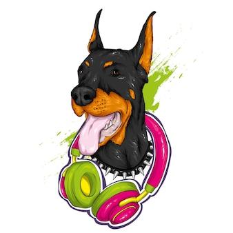 Hermoso perro con auriculares