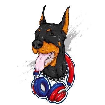 Hermoso perro con auriculares.