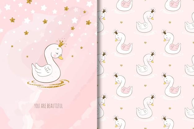 Hermoso personaje de dibujos animados de cisne, tarjeta y patrones sin fisuras.