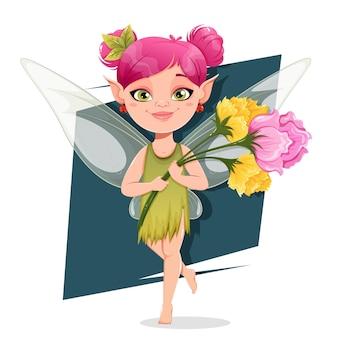 Hermoso personaje de dibujos animados de hadas con flores