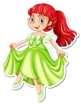 Hermoso personaje de dibujos animados princesa pegatina
