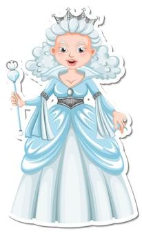 Hermoso personaje de dibujos animados de la reina de las nieves pegatina