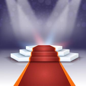 Hermoso podio con fondo de alfombra roja realista.