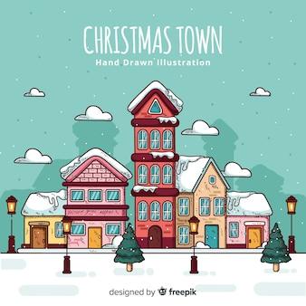 Hermoso pueblo de navidad dibujado a mano