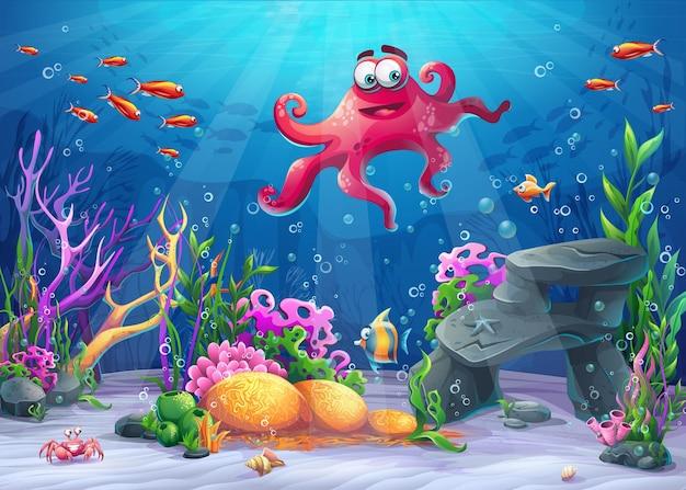 Hermoso pulpo, coral y coloridos arrecifes y algas en la arena. ilustración de vector de paisaje de mar.