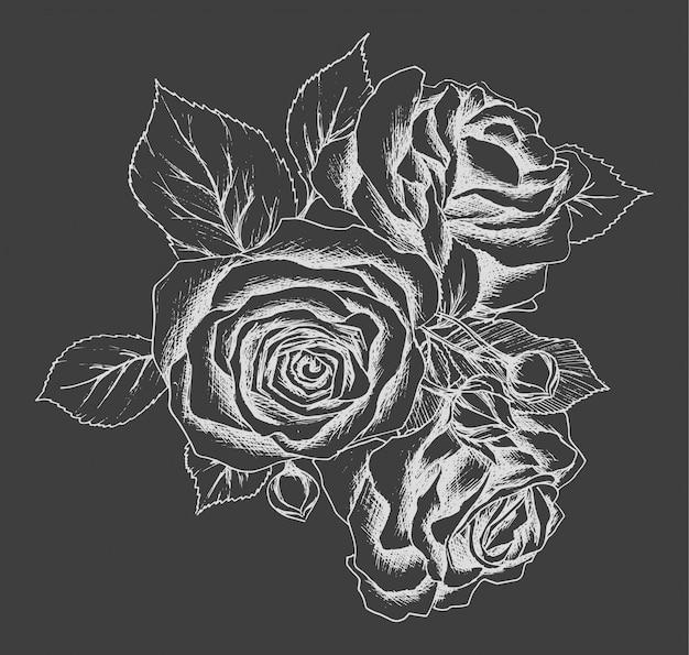 Hermoso ramo blanco y negro monocromo rosa