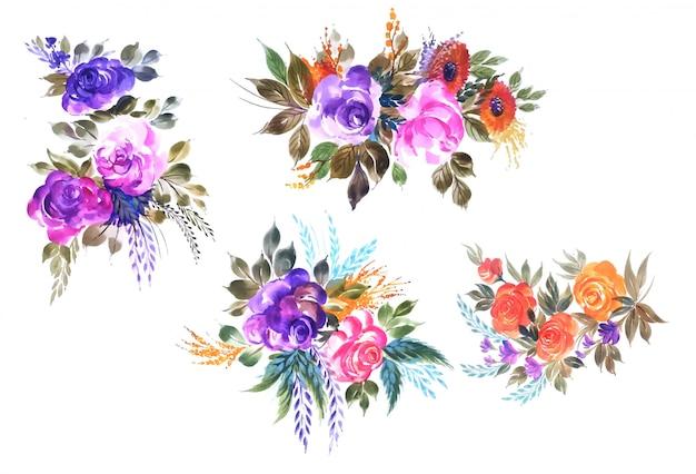 Hermoso ramo de boda floral set diseño vectorial