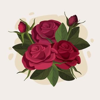 Hermoso ramo floral de rosas de color burdeos