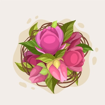 Hermoso ramo floral de rosas rosadas