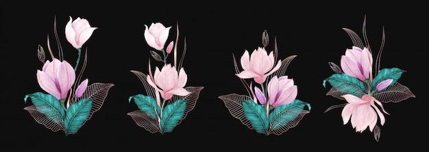 Hermoso ramo de flores de acuarela con decoración de línea de oro rosa