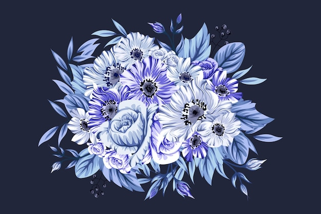 Hermoso ramo de flores azul helado