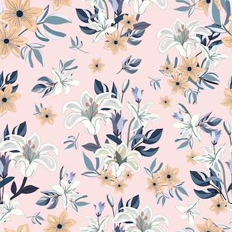 Hermoso ramo de flores de patrones sin fisuras