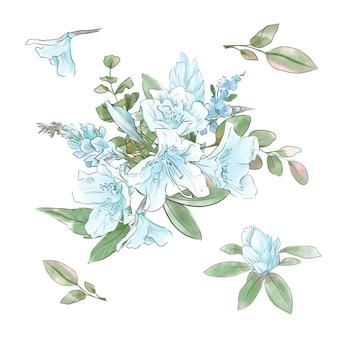 Hermoso ramo de flores de primavera de narcisos y hojas