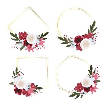 Hermoso ramo de flores rojas y blancas con colección de estilo plano de marco geométrico dorado para boda, cumpleaños o día de san valentín