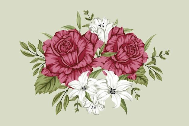 Hermoso ramo de flores rojas y blancas