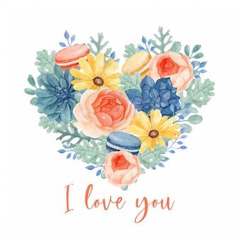 Hermoso ramo de macarrones florales y dulces en forma de corazón, lleno de margaritas, ranúnculos. succuleny, eucalipto y hojas molidoras polvorientas