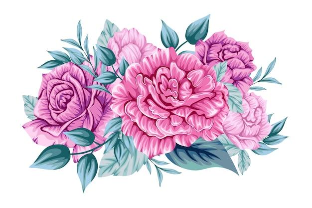 Hermoso ramo rosa de flores